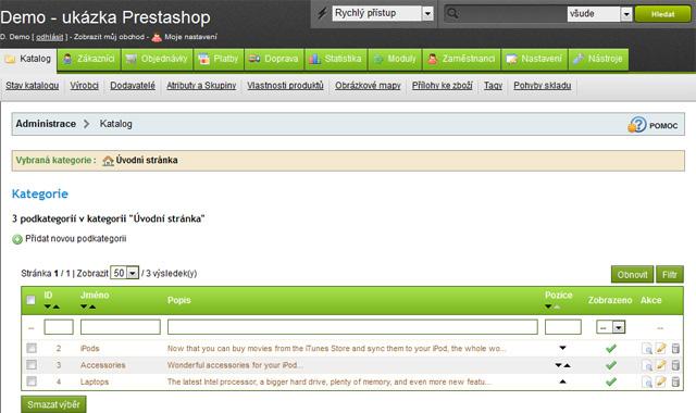 PrestaShop 1.4 Administrace